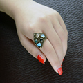 2016 Tibetan Resin Ring For Women Antique Silver Alloy Oval Turquoise Fashion Brand Carving Vintage Jewelry