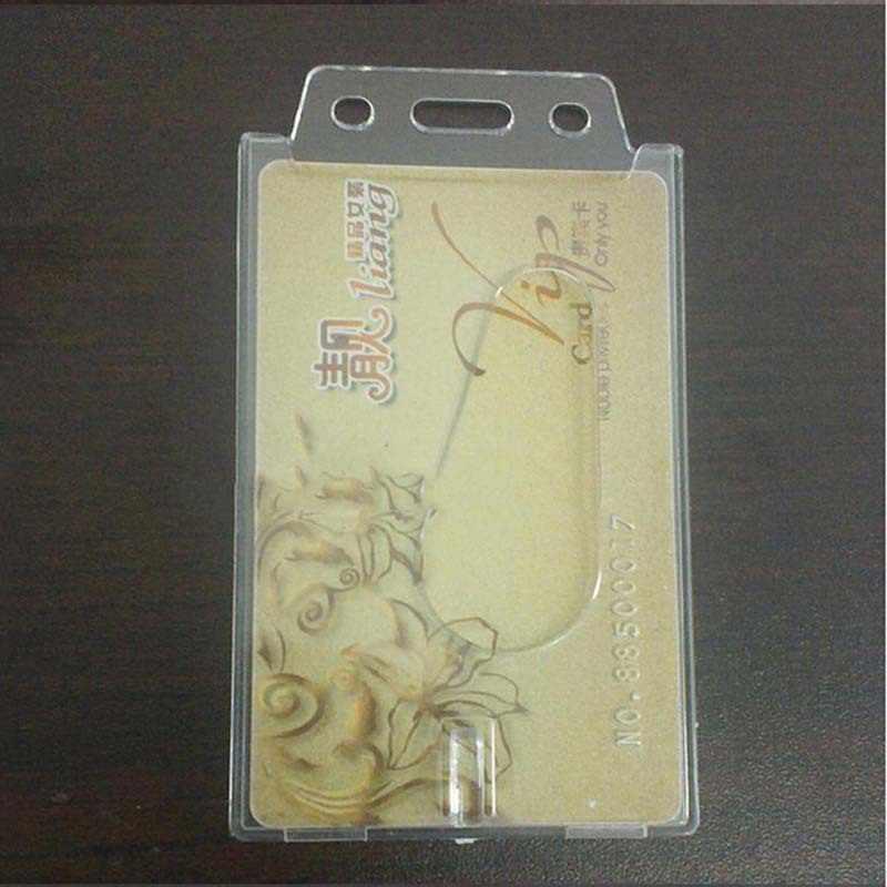 Fashion Transparent Case Clear Vertical Hard Plastic Badge Holder Card ID Credit Holder 10*6cm
