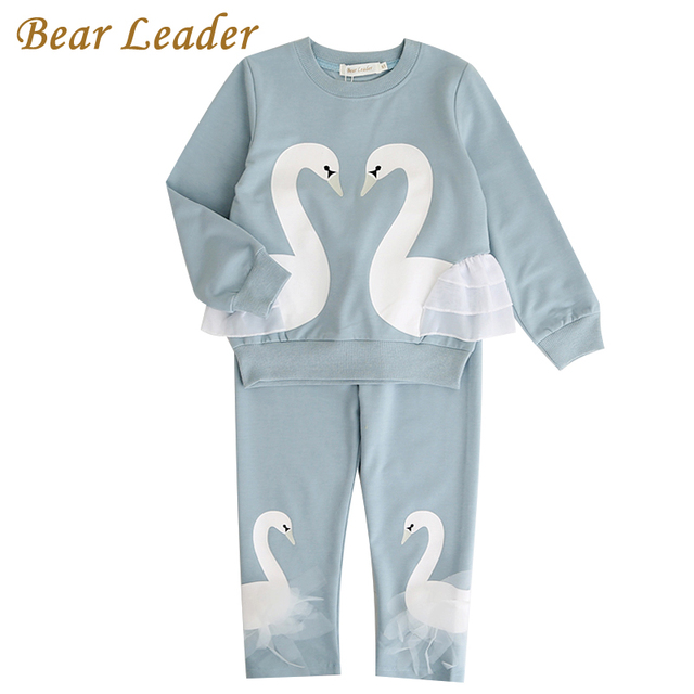 Bear Leader Girls Clothing Sets 2018 New Autunm Sets Children Clothing Lovely Swan Lace Design Sweatshirts+Pants Suit For 3-7Y