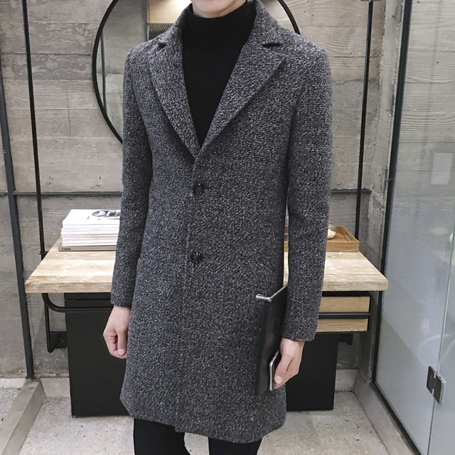 2016 Winter Long Snow Style Men's Cashmere Woolen Trench Coats Trench Coat Outerwear  Casual Coat Men's Jacket Windbreaker