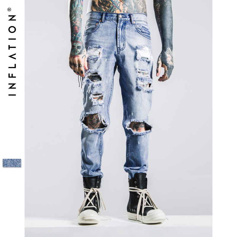 Mens Jeans Brand INFLATION 2016 Hip Hop Autumn Ripped Jeans For Men Light Blue Color Jeans