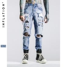Herren jeans marke inflation 2016 hip hop herbst zerrissenen jeans für männer hellblau farbe jeans