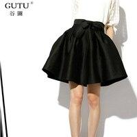 GUTU Solid Color Bottom 2017 New Summer Korean Fashion Black Large Hem Ball Gown Casual