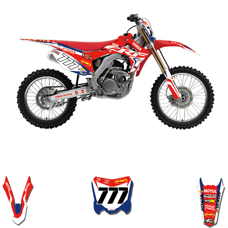 Customized Number Full GRAPHICS BACKGROUNDS DECAL STICKER Set For Honda CRF250R CRF250 2014 2017 CRF 450