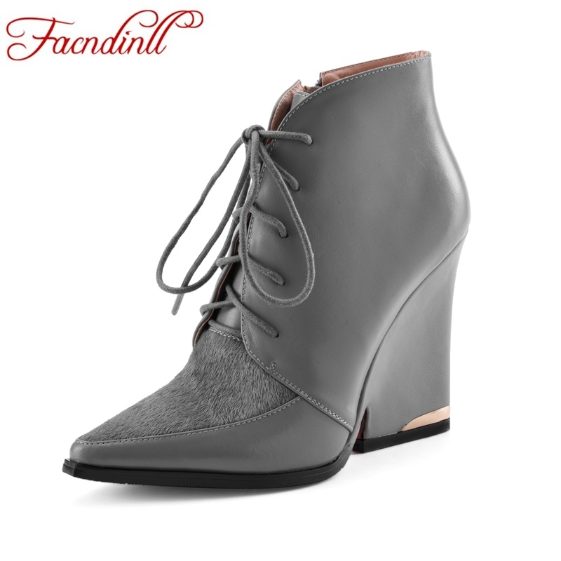 FACNDINLL genuine leather  women ankle boots shoes wedges high heels pointed toe lace up shoes woman party casual riding boots facndinll women genuine leather ankle boots black red fur leather high heels pointed toe shoes woman autumn winetr riding boots