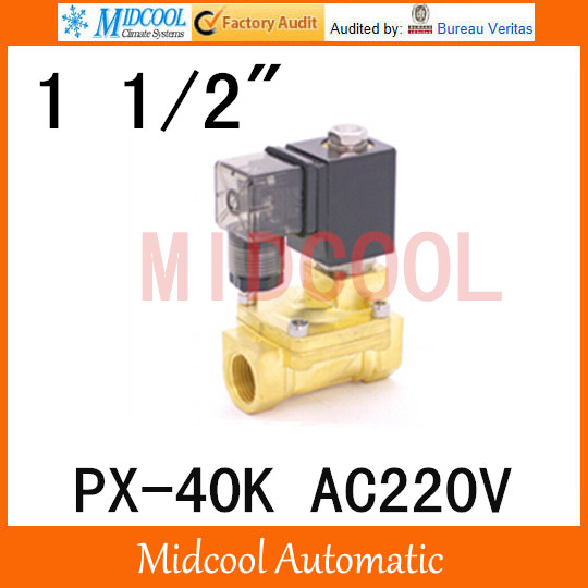 ФОТО AC220V  diaphragm brass water electromagnetic valve PX-40K port  1 1/2