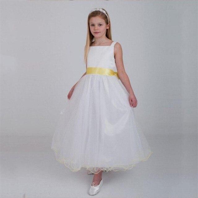 Aliexpress buy white ankle length flower girl dresses scoop white ankle length flower girl dresses scoop with yellow ribbon bowknot vestidos de fiesta wedding mightylinksfo
