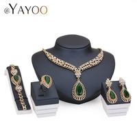 18k Gold Plated Crystal African Beads Fine Jewelry Sets For Women Wedding Dress Accessories Bridal Set