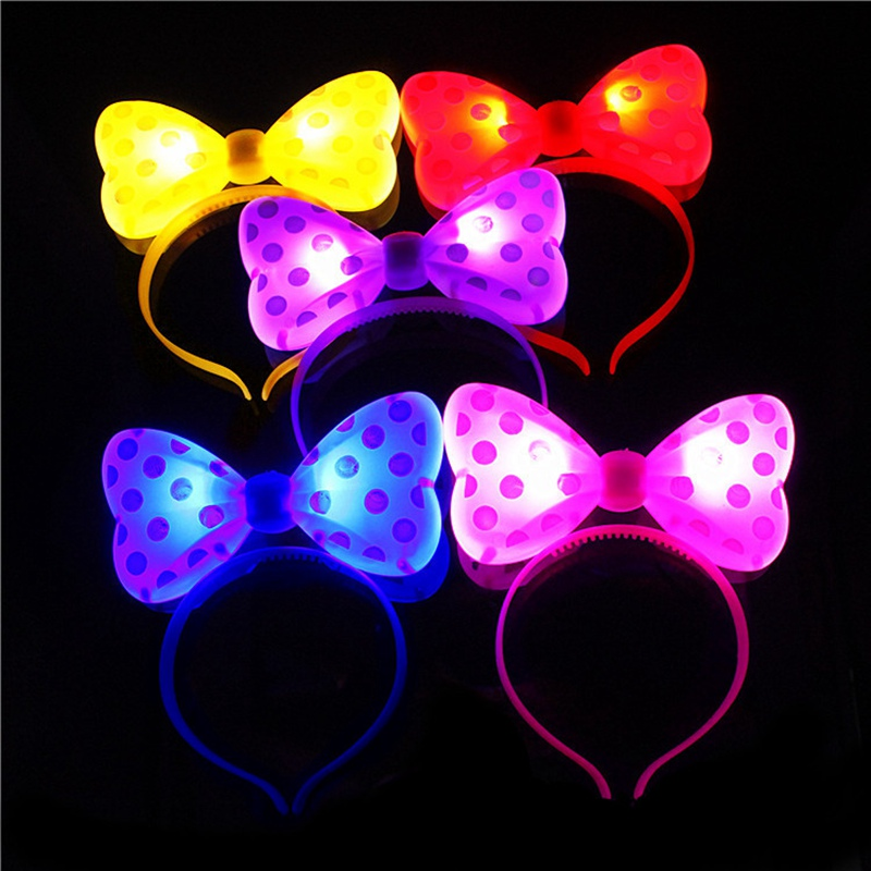 LED Light Headband Bow Children Bowknot Craft Headband Baby Birthday Girl Hair Scarf Accessories Party Butterfly Decorations DIY