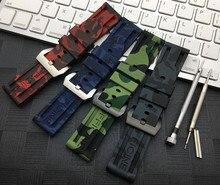 Sport 22 Mm 24 Mm Camo Grijs Groen Rood Blauw Siliconen Rubber Horlogeband Voor Panerai Strap Voor PAM111 Horloge Band armband Gratis Tools