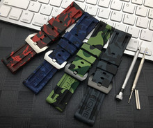 Sports 22mm 24mm Camo Gray Green Red Blue Silicone Rubber watchband For Panerai strap for PAM111 Watch band Bracelet free tools