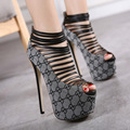 2016 Heels New Pattern Major Suit Go Show Shoes Thin Strips Group Combine Waterproof Platform 16cm High with Sandals 40 Code