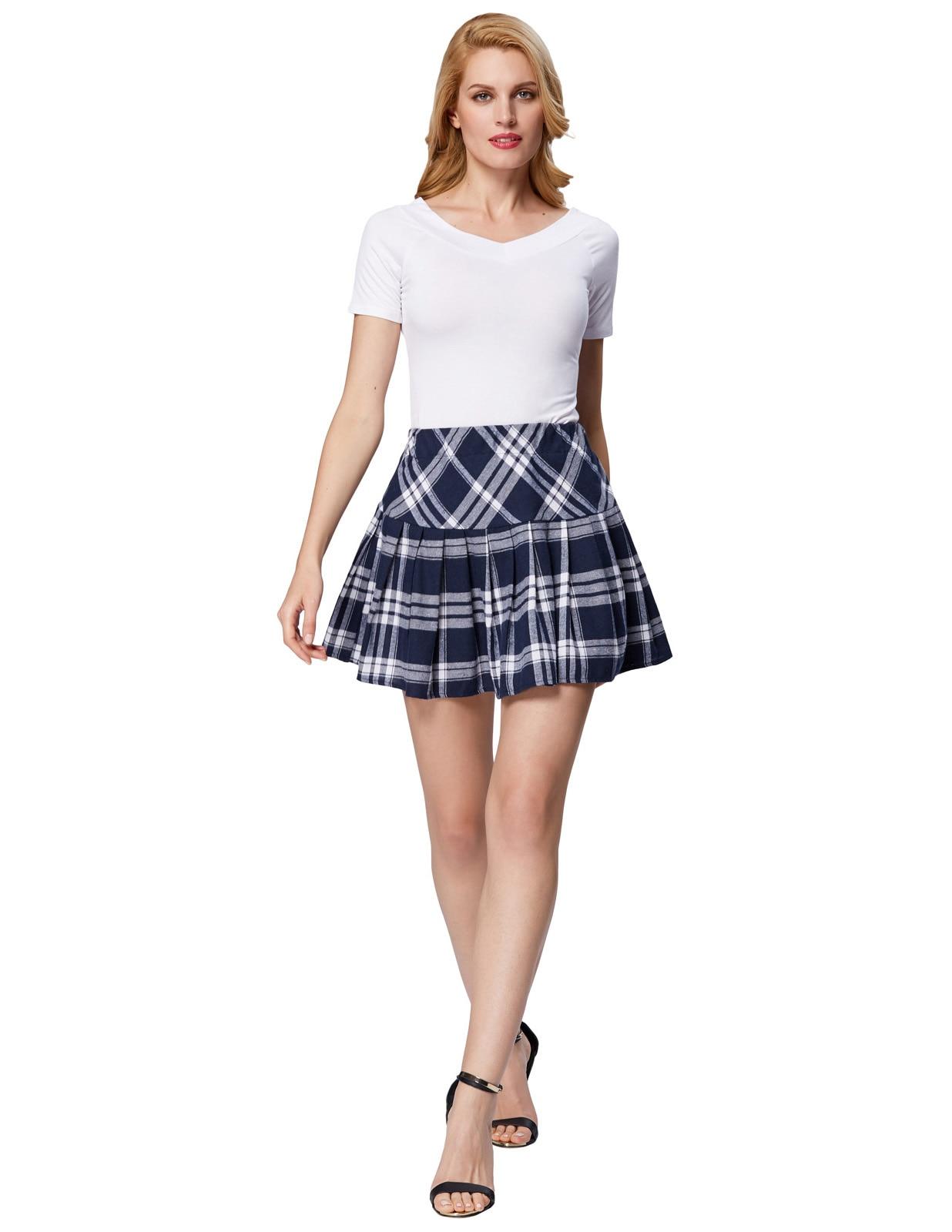 women skirt 2018 summer casual Retro Vintage Elastic Waist Pleated Flared Mini party Skirt