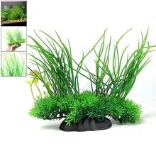 Free Shipping 8 Green Artificial Plastic Grass Water Plant Fish Tank Ornament Aquarium Decor