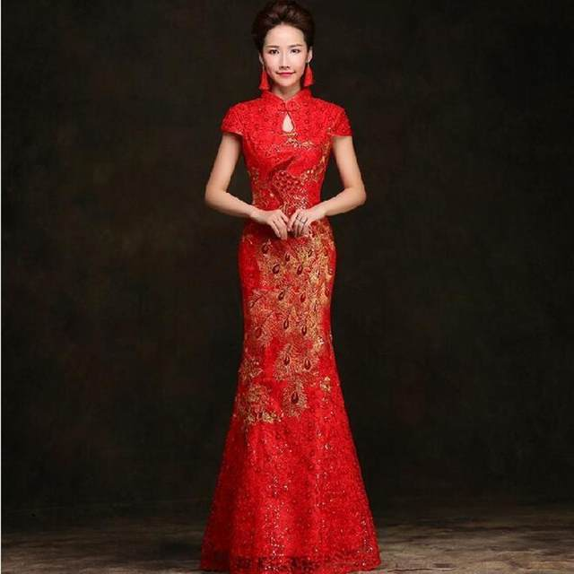 online shop traditional chinese dress red mermaid qipao summer lace