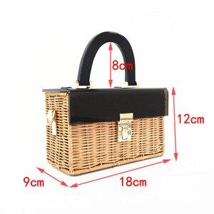 Image 2 - Fashion new acrylic flip straw braided bag wooden handle woven bag handmade holiday travel rattan bag
