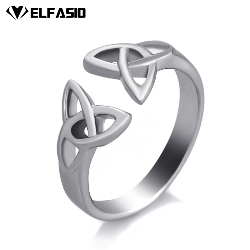 цена Elfasio Women's Girl's Stainless Steel Ring Celtic Knot Silver Tone Fashion Jewelry