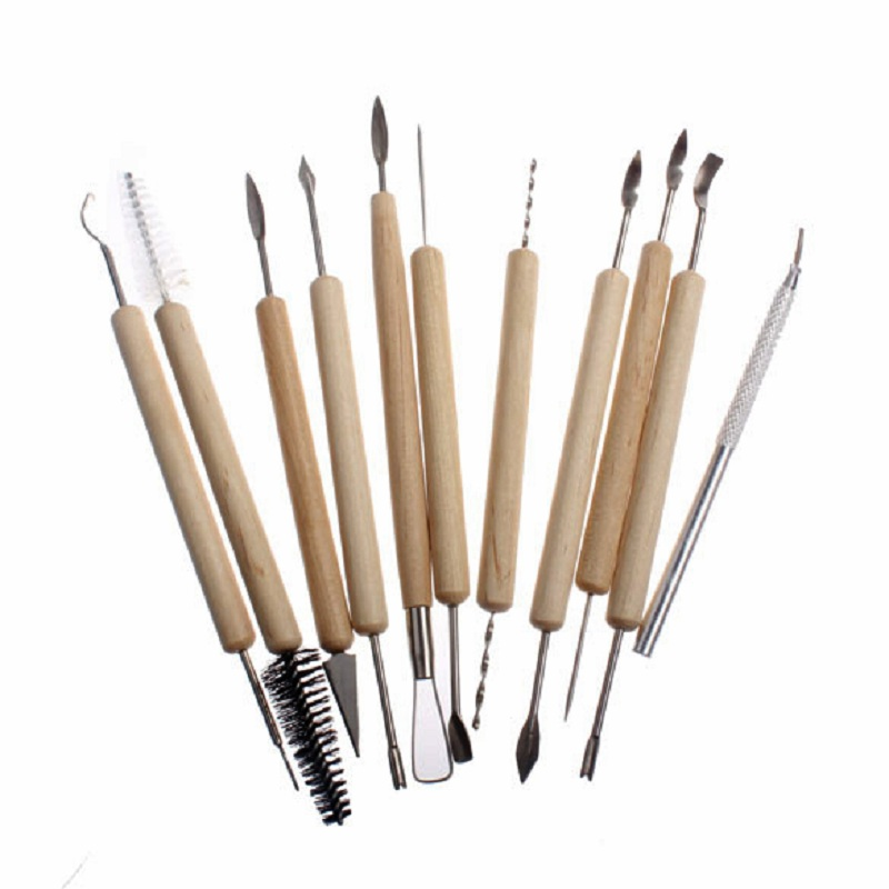 11pcs Clay Sculpture Tool Silicone Rubber Pottery Carving Sculpturing Modeling Repair Set Wooden Handle DIY Craft Tool