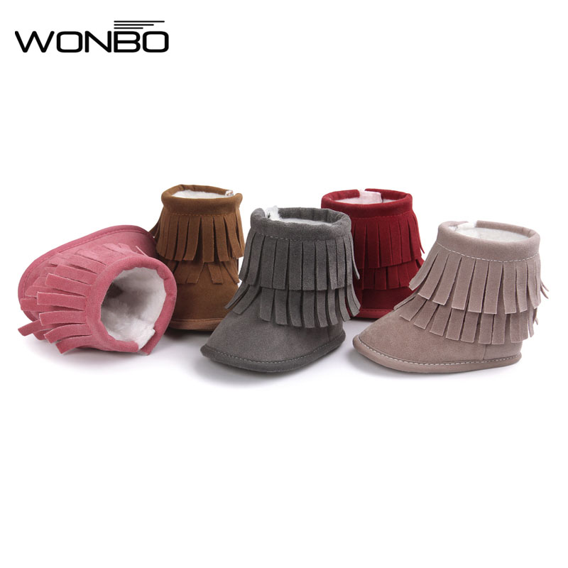 2017 Fashion 2 Layer Tassels Baby Moccasin Newborn Babies Snow Boots Baby First Walkers Winter Warm Baby Shoes 5-Colors Boots