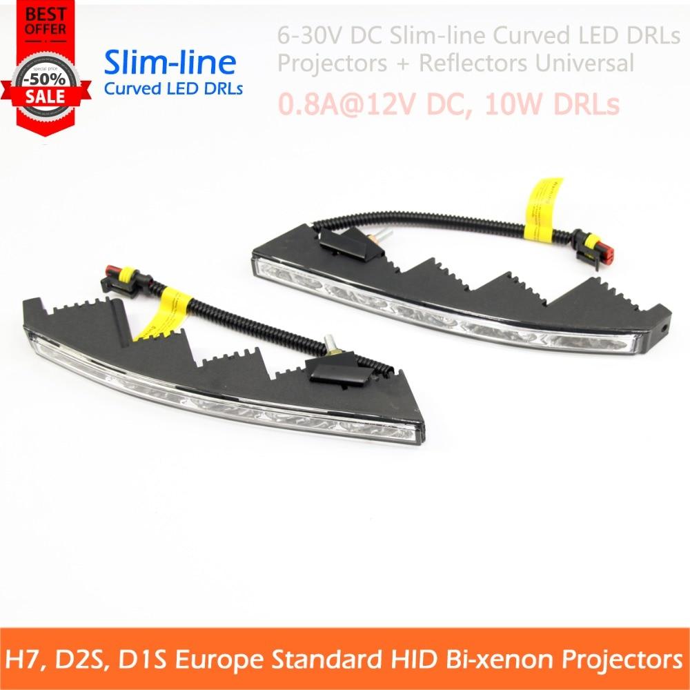 ФОТО 2PCS 10W Curved Slim Line LED DRLs For Land Cruiser And Universal Cars Fog Light Retrofit Styling Daytime Running Light Headlamp