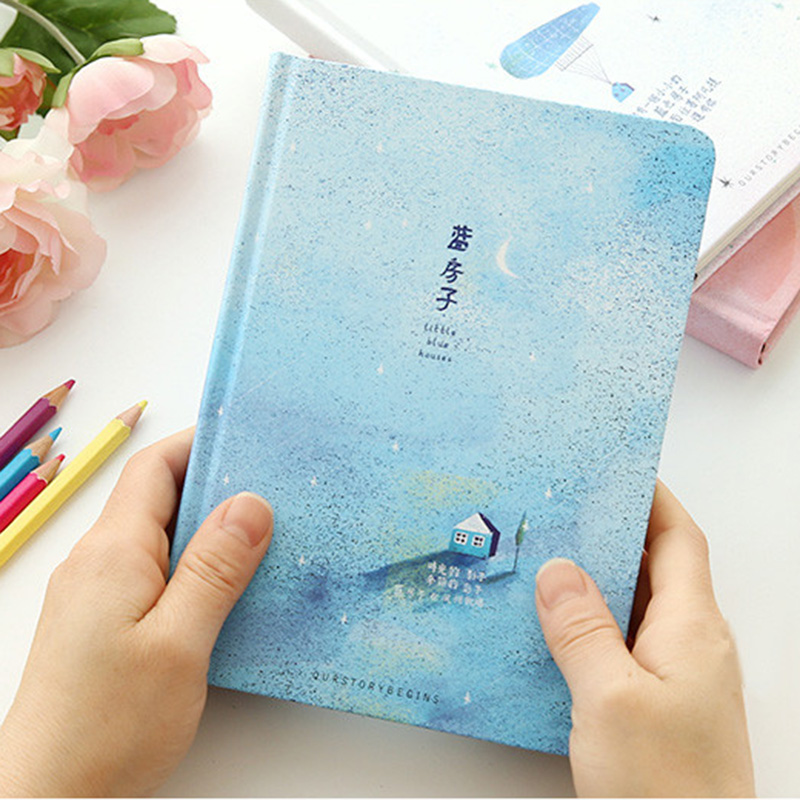 Creative trend Color Pages A5 Notebook Little Blue House Diary Book Hardcover diary Stationery School Supplies Blue creative trend dolphin notebook a5 color inside page note book sketch book graffiti diy diary japanese stationery
