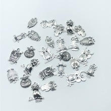 30pcs mixed batch Tibetan silver owl alloy pendant jewelry accessories diy handmade bracelet necklace