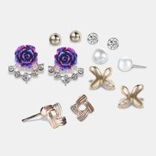 Cindiry Unique Design Fashion Stud Earings Sets Punk Style Alloy Simulated Pearl Flower Rhinestones Ear Jewelry Bijoux Femme