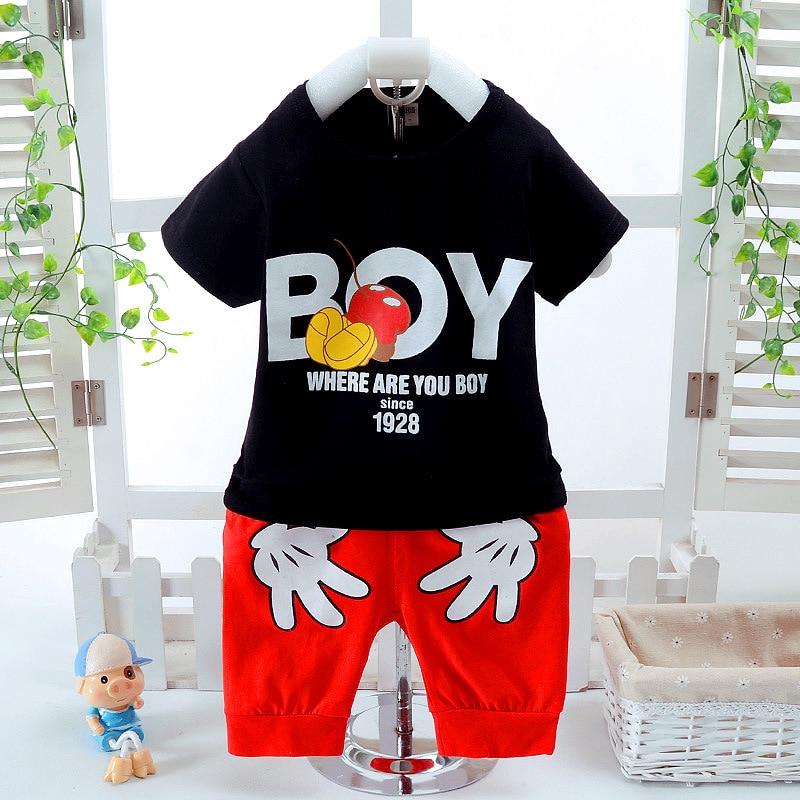 Ensembles de vêtements d'été pour garçons Mickey bébé enfants mode T-shirt à manches courtes en coton et Shorts costumes ensembles de vêtements pour enfants Costume