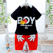 Summer Boys Clothing Sets Mickey Baby Children Fashion Cotton Short Sleeve T-shirt and Shorts suits Kids Clothes Sets Costume цена 2017