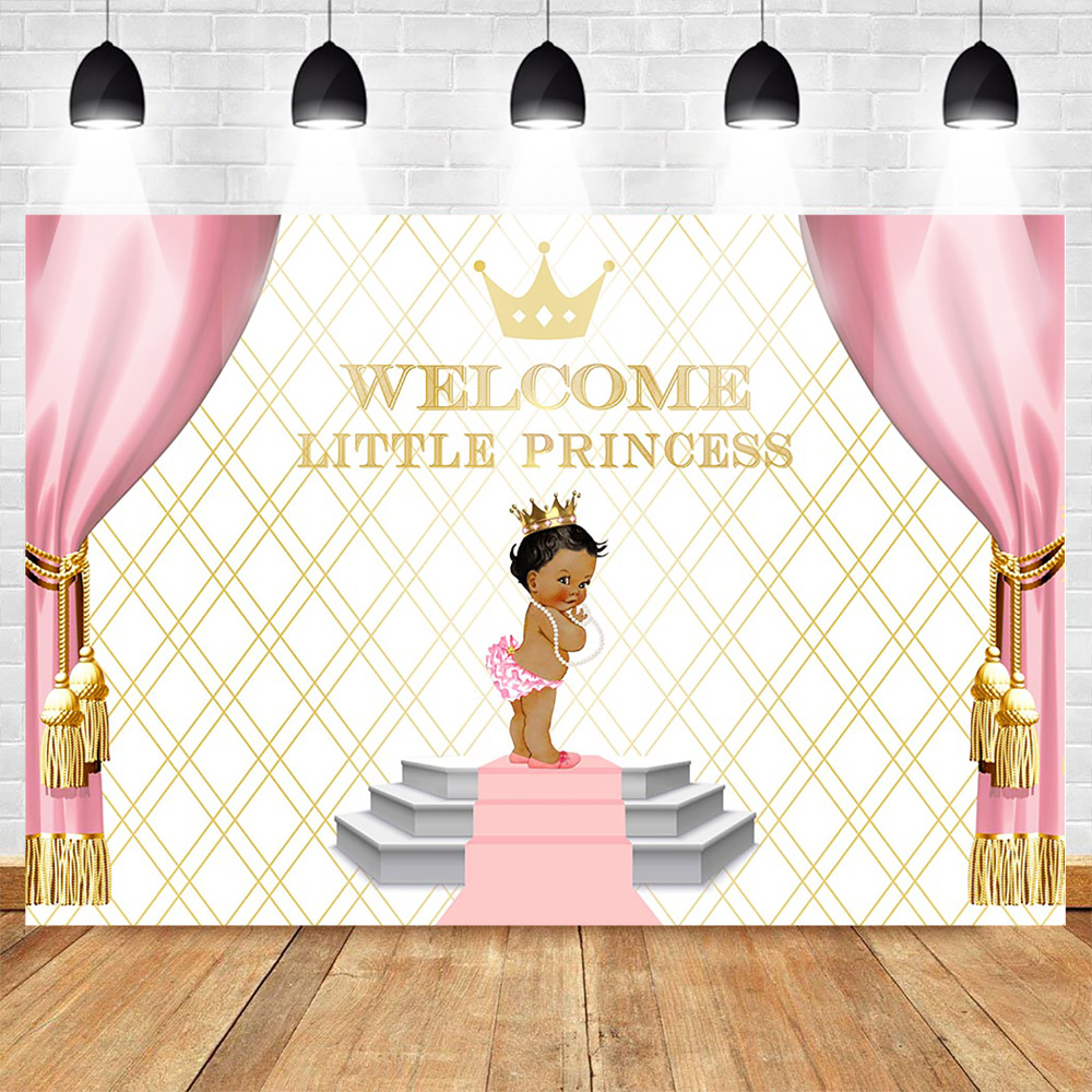 Neoback Welcome Little Princess Theme Party Photo Background Newborn Baby Shower Backdrop Bright Stage Golden Crown Red Curtain Background Aliexpress