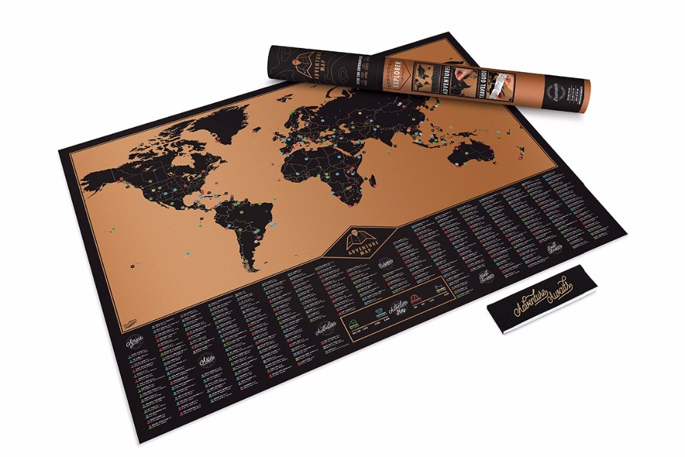 New Design Adventure Scratch Off Map Travelling List Black Scratch World Map Poster for Home <font><b>Wall</b></font> Decoration 81