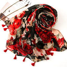 2019 New Floral Women Scarf Summer and Spring Voile Ladies Shawl Luxury Brand Ponchos and Cape Hijab Scarf Beach Blanket Scarves chic rose floral pattern voile scarf for women