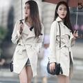 Весна Осень Марка Изящные Пальто Дамской одежды Длинный Черный/Серый Пальто Повязку Талии Британский Манто Femme Пиджаки