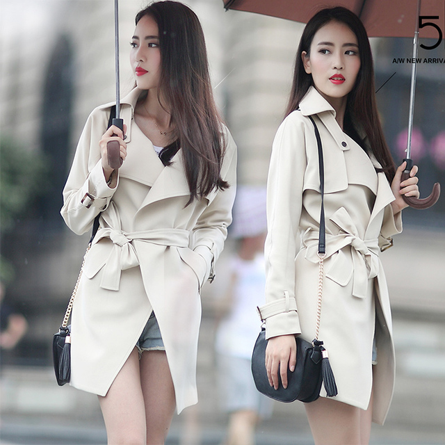 Marca primavera Otoño Abrigo Elegante de Las Mujeres de La Manera Larga Negro/Gris Trench Coat Cintura Vendaje Británico Manteau Femme Outwear