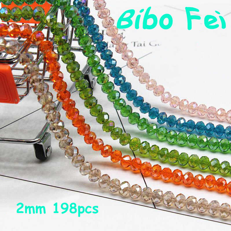 Gratis pengiriman multi warna 2mm 198 PCS Bicone kristal beads Cut Faceted Putaran Kaca Beads, gelang kalung Perhiasan membuat DIY