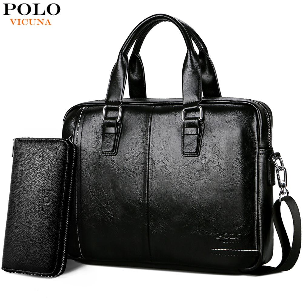 531e0093c VICUNA POLO New Arrival High Quality Leather Man Messenger Bag Bag Set Brand  Men's Briefcases Business Laptop Men Handbag
