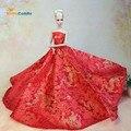 Топ! Кукла платье китайской красной стиль вечернее платье чисто ручной свадебное платье для кукол барби благородного