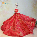 Top! Doll Dress Chinese Red Style Evening Gown Purely Manual Clothes Wedding Dress for Barbie Dolls Noble Suit