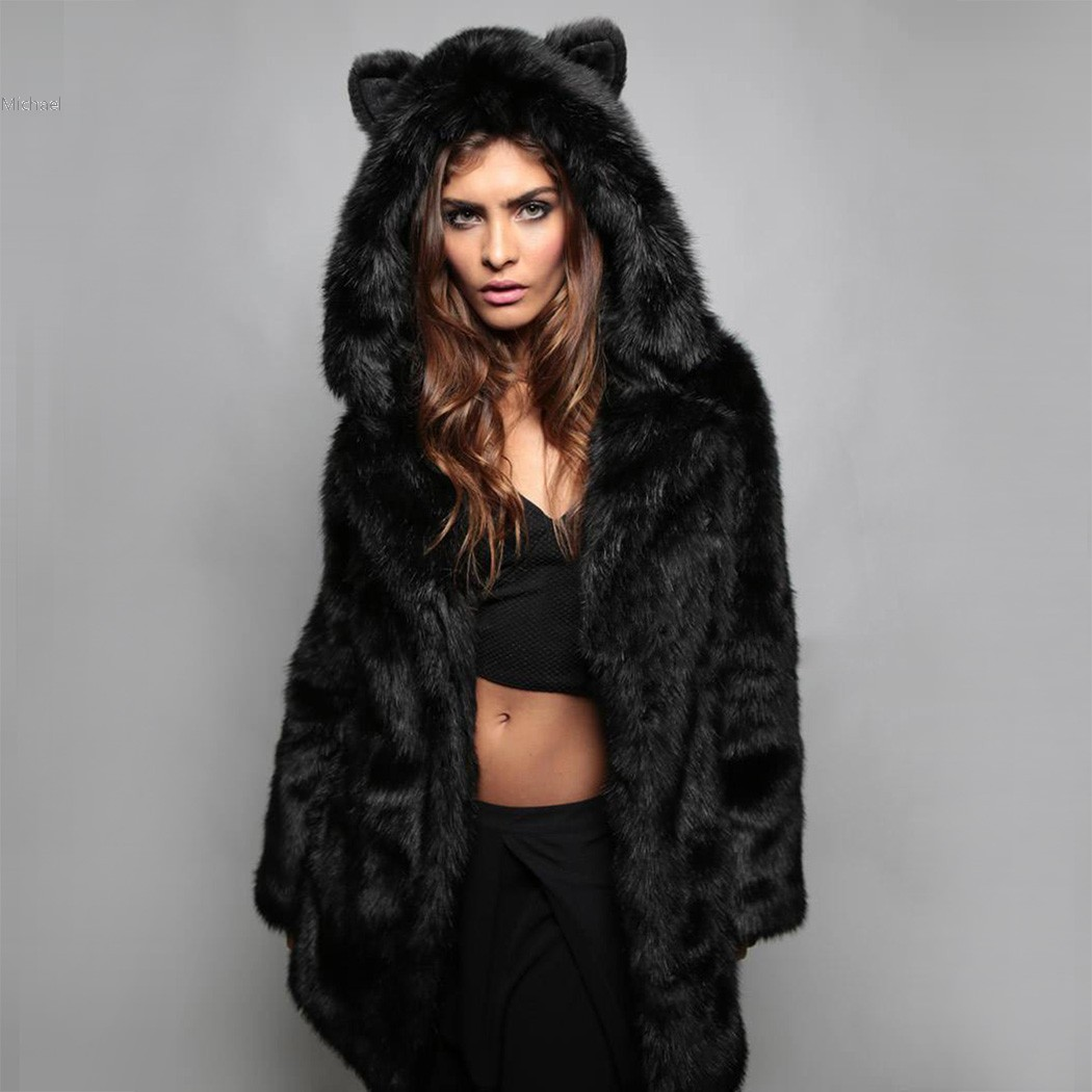 Fashion women Faux fur Coat vest High quality Long faux fur coat with cute bear ear Hat Free shipping 61
