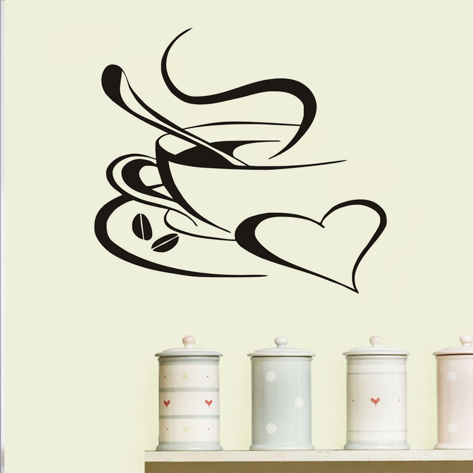 New Design A Cup Of Hot Coffee Wall Stickers Waterproof Art Vinyl Decal For  Kitchen Window Cafe Restaurant Home Decor