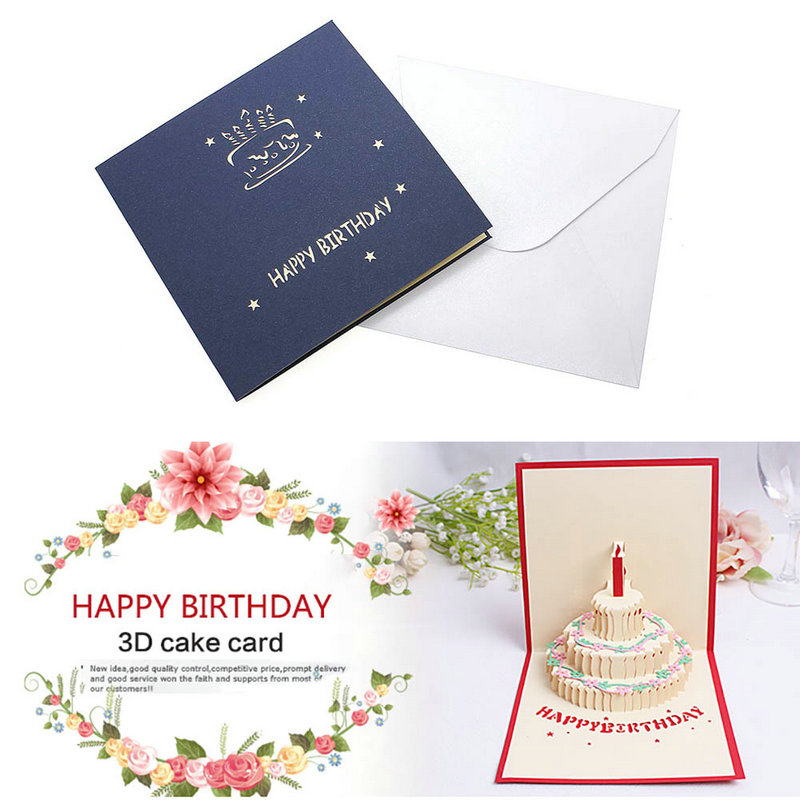 Birthday cake 3d greeting cards 3d paper cure pop up handmade post birthday cake 3d greeting cards 3d paper cure pop up handmade post card gift cards souvenirs party favor in cards invitations from home garden on m4hsunfo