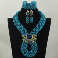 2017 Crystal Blue Necklace Sets For Women Fashion Vintage Ethnic Jewelry Nigerian Gold Bead Necklace Free Shipping HX860