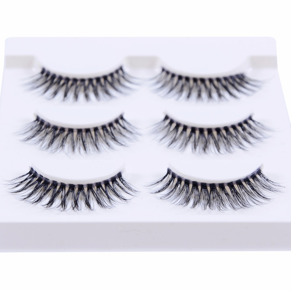 New 3 pairs natural false eyelashes fake lashes long makeup 3d mink lashes extension eyelash mink eyelashes for beauty 3D-25