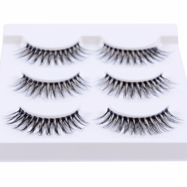 6c0ed21e968 New 3 pairs natural false eyelashes fake lashes long makeup 3d mink lashes  extension eyelash mink