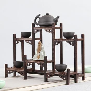 Ala de pollo de madera maciza chino estante de almacenamiento retro pequeño multi tesoro cofre púrpura juego de té y tetera estante soporte de exhibición