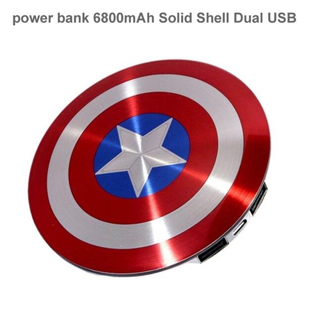ГОРЯЧАЯ power bank 6800 мАч Твердой Оболочки Dual USB/Мстители Капитан Америка Щит Зарядки Мобильного Питания портативный зарядное устройство