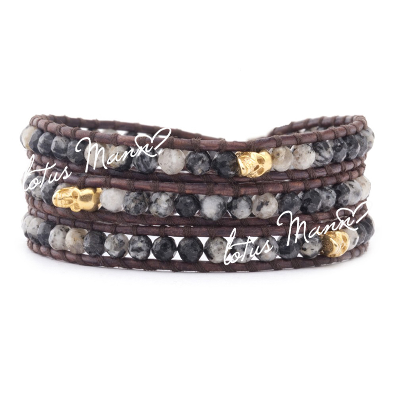 Lotus Mann cristal noir 3 enveloppes bracelet crâne d'or