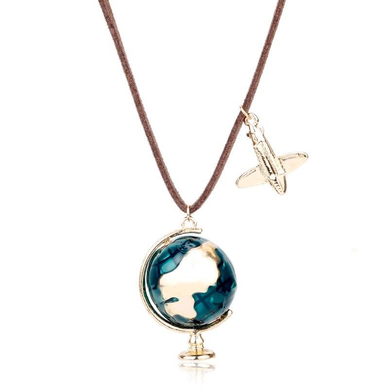 dongsheng Fashion Mini Globe Earth Aircraft Plane Pendant Charm Leather Enamel Necklace Traveling World Jewelry Turist Gifts -15