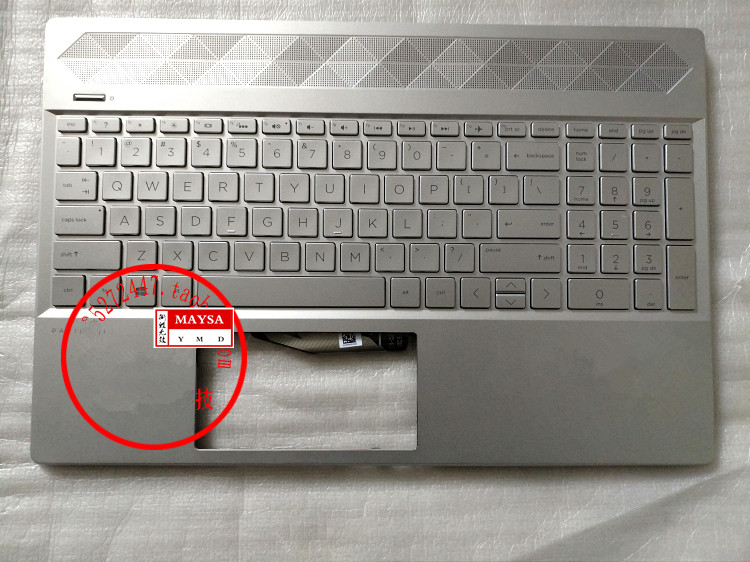 Laptop Palmrest Top Case Cover With US Layout Keyboard For HP 15-CS 15-CS0061ST L24752-001 Silver Color