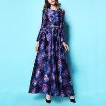 Новая мода Демисезонный Женская с длинным рукавом принт линии платье Элегантный жаккард тонкий макси длинное платье длиной до пола плюс Размеры